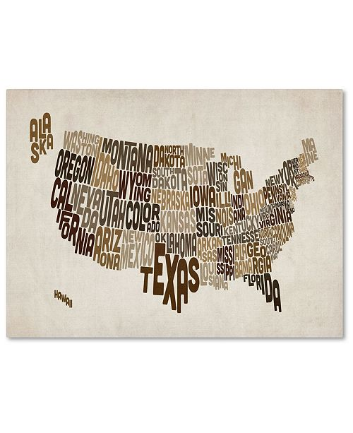 "Trademark Global Michael Tompsett 'USA States Text Map 2' Canvas Art - 14"" x 19"""