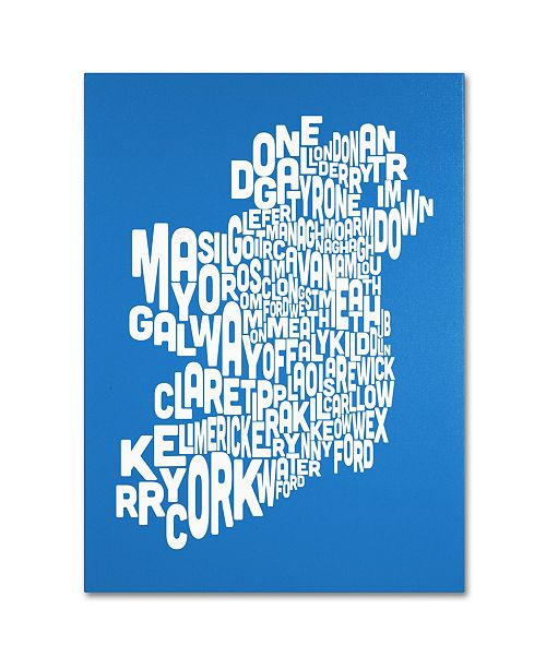 "Trademark Global Michael Tompsett 'SUMMER-Ireland Text Map' Canvas Art - 14"" x 19"""