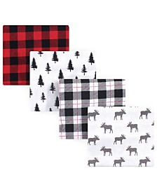 Hudson Baby Flannel Receiving Blankets, 4 Pack, One size