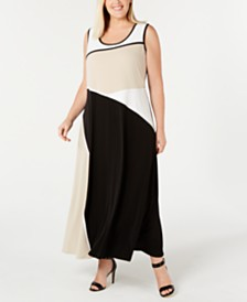 Calvin Klein Plus Size Colorblocked Maxi Dress