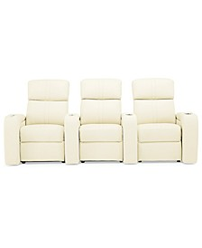 Perison 3-Pc. Leather Theater Sectional Sofa