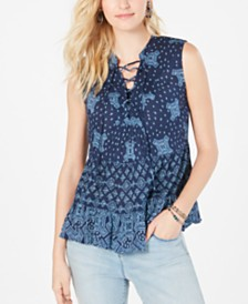 Style & Co Printed Tiered Lace-Up Top, Created for Macy's