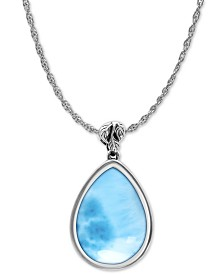 "Marahlago Larimar Alana 21"" Pendant Necklace in Sterling Silver"