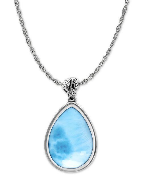 "Marahlago Larimar Alana 21"" Pendant Necklace in Sterling Silver"