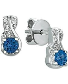 Cornflower Ceylon Sapphires (1/2 ct. t.w.) & Vanilla Diamonds® Accent Drop Earrings in 14k White Gold
