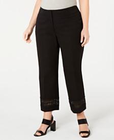 Alfani Plus Size Lace-Inset Capri Tummy-Control Pants,  Created For Macy's