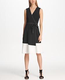 DKNY Contrast Stitch Colorblock Faux Wrap Dress