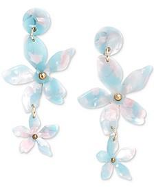 Gold-Tone Acetate Flower Double Drop Earrings
