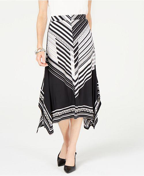 JM Collection Printed Handkerchief-Hem Skirt, Created for Macy's