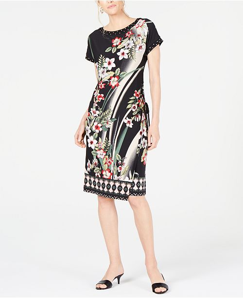 JM Collection Studded Faux-Wrap Dress, Created for Macy's