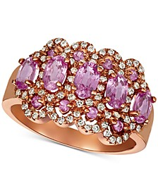 Pink Sapphire (1-3/4 ct. t.w.) & Diamond (1/3 ct. t.w.) Ring in 14k Rose Gold