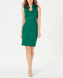 Calvin Klein Ruffled-Collar Scuba Sheath Dress, Regular & Petite Sizes