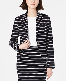 Calvin Klein Striped One-Button Jacket