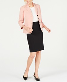 Le Suit Stretch Crepe 3-Button Skirt Suit