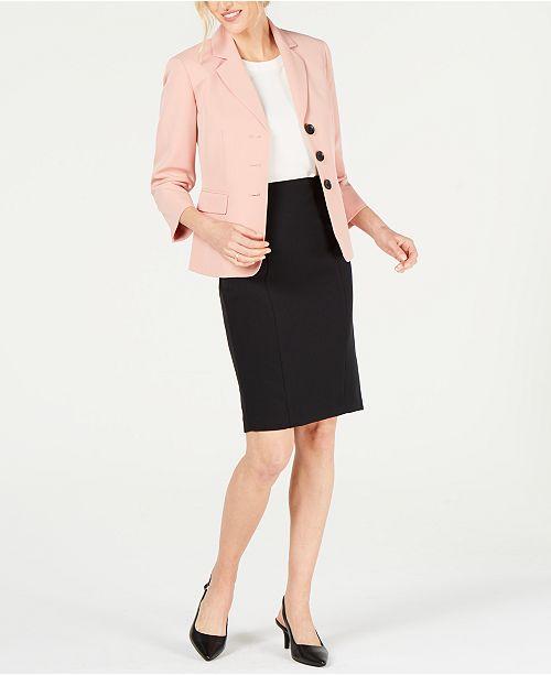 Le Suit Stretch Crepe 3-Button Skirt Suit