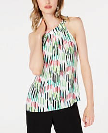 Bar III Printed Sleeveless Halter-Neck Top, Created for Macy's