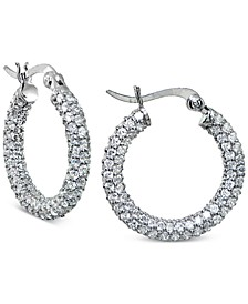 Cubic Zirconia Pavé Hoop Earrings in Sterling Silver, Created for Macy's