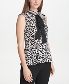 DKNY Petite Printed Pleated Tie-Neck Top