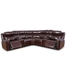 Saran 7-Pc. Leather Sectional Sofa with 2 Power Recliners, 2 Consoles & USB Port