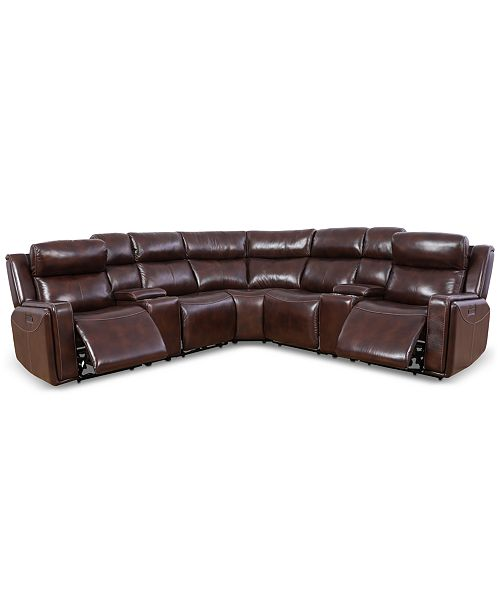 Saran 113 7-Pc. Leather Sectional Sofa with 2 Power Recliners, 2 Consoles &  USB Port