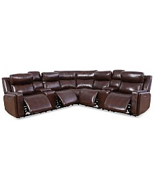 Saran 7-Pc. Leather Sectional Sofa with 4 Power Recliners, 2 Consoles & USB Port