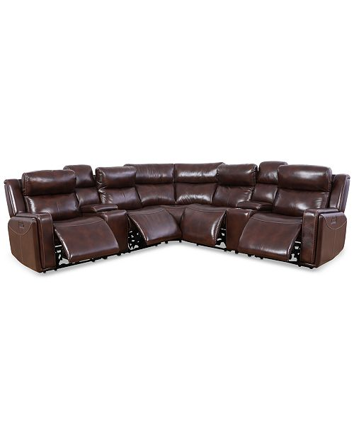 Strange Saran 7 Pc Leather Sectional Sofa With 4 Power Recliners 2 Consoles Usb Port Uwap Interior Chair Design Uwaporg