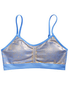 Maidenform Little & Big Girls Ruched Cropped Metallic Bra