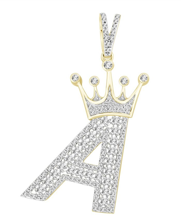 Macy's - Diamond (3/8 ct.t.w.) Crowned Initial Pendant in 10k Yellow Gold