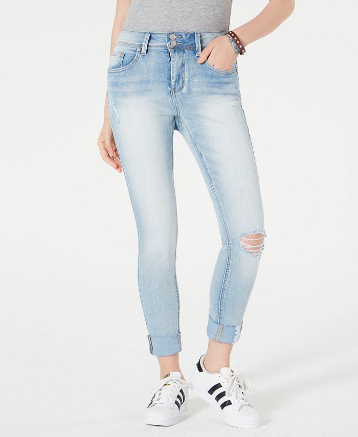 Indigo Rein - Juniors' Cuffed Skinny Ankle Jeans