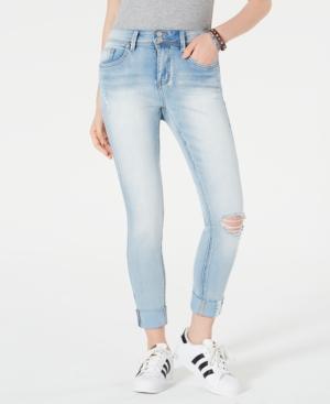 Juniors' Cuffed Skinny Ankle Jeans