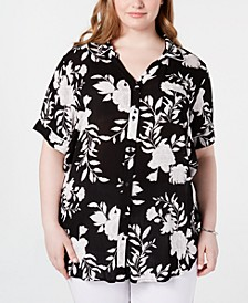 Trendy Plus Size Printed Button-Up Shirt