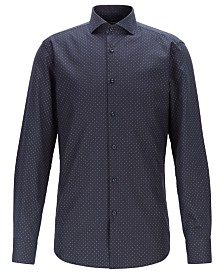 BOSS Men's Jason Slim-Fit Dot-Print Cotton Shirt