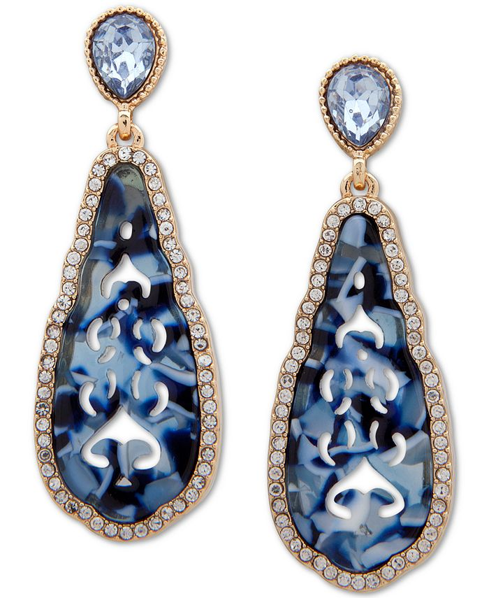 lonna & lilly - Gold-Tone Faceted Blue Teardrop Earrings
