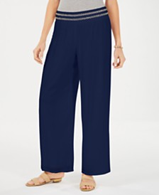 JM Collection Petite Metallic-Detail Wide-Leg Pants, Created for Macy's