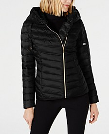 Asymmetrical Hooded Packable Puffer Coat