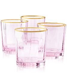 Martha Stewart Collection Blush Double Old-Fashioned Glasses, Set of 4, Created for Macy's