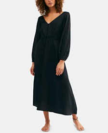 Free People Later Days Lattice-Back Midi Dress