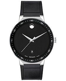 Men's Swiss Sapphire Black Rubber Strap Watch 41mm