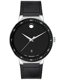 Movado Men's Swiss Sapphire Black Rubber Strap Watch 41mm