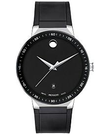 Movado Men's Swiss Sapphire Black Rubber Strap Watch 41mm