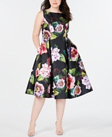 Adrianna Papell Plus Size Tea-Length Dress
