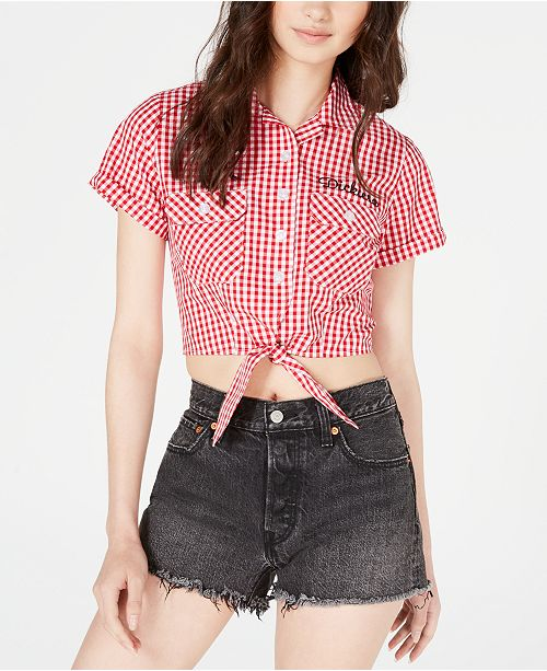 Dickies Juniors' Tie-Front Cropped Shirt