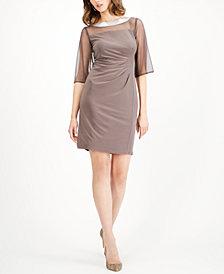 R & M Richards Embellished Illusion Sheath Dress