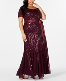 R & M Richards Plus Size V-Neck Sequin Gown