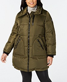 Plus Size Faux-Fur-Trim Puffer Coat