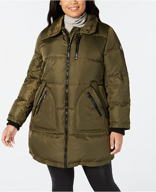 Vince Camuto Plus Size Faux-Fur-Trim Puffer Coat