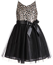 Pink & Violet Big Girls Leopard-Print-Sequinned Ballerina Dress