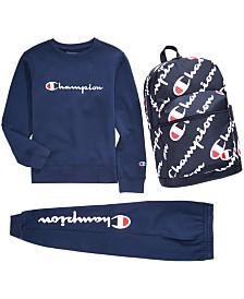Champion Big Boys Sweatshirt, Jogger Pants & Backpack