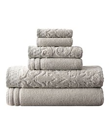 Damask Jacquard Towels With Embellished Border 6 Piece Set