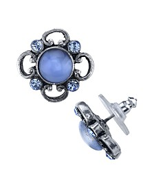 2028 Pewter Tone Lt. Blue Moonstone and Crystal Accent Post Button Earrings
